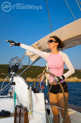 Girl Captain Sailing with Sunglasses