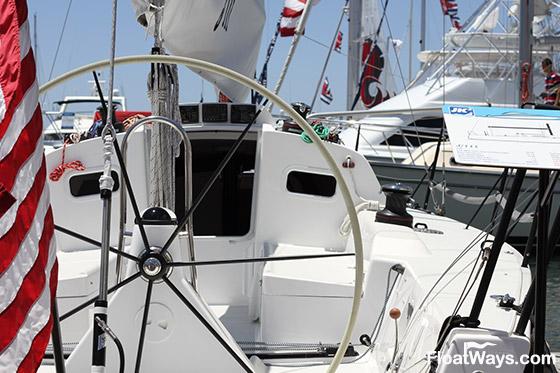 Sailboat Steering Wheel on a J111 Racing Yacht